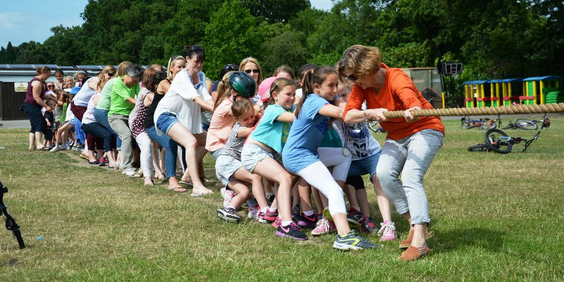 Working together as a school community - the Jubilee Tug of War