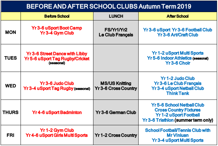 20190918 Before And After School Clubs